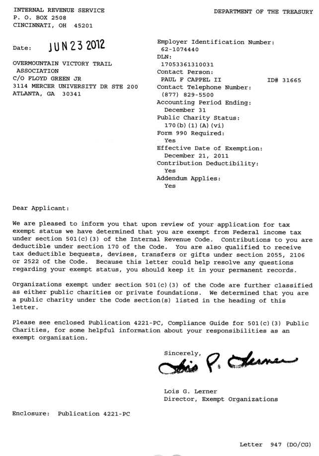 Overmountain Victory Trail Association - IRS Certification Letter